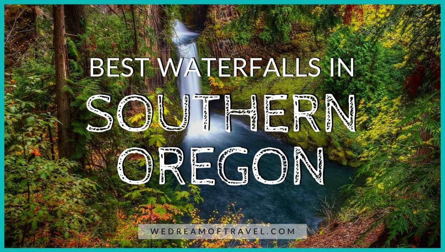 Best Waterfalls in Southern Oregon blog post graphic.  Long exposure image of Toketee Falls with a text overlay.