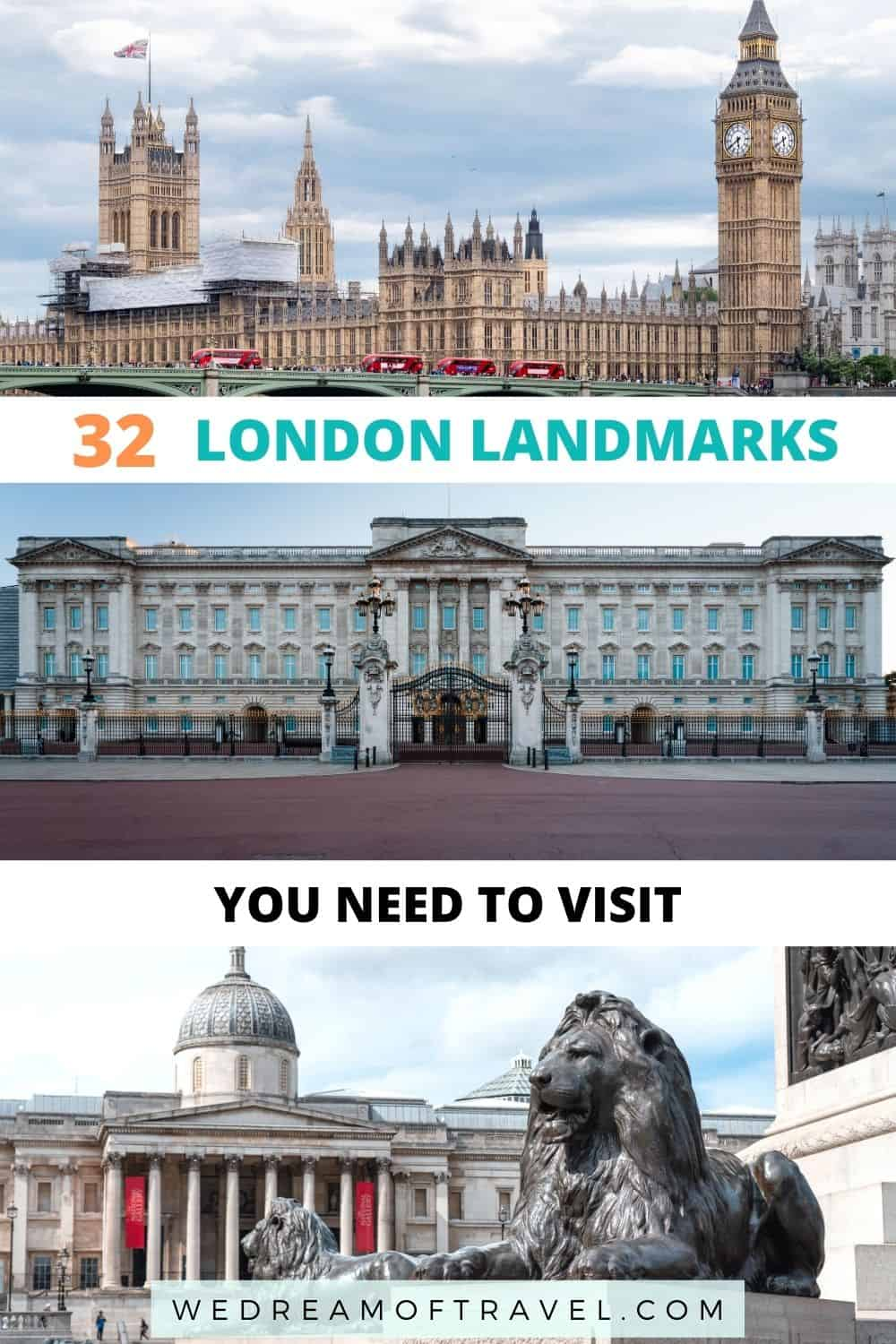 No visit to the capital city is complete without visiting some of the most famous landmarks in London. Discover 32 iconic sites in London you need to see! London Landmarks | Landmarks in London | Landmarks of London |Things to do in London | London Travel | London England