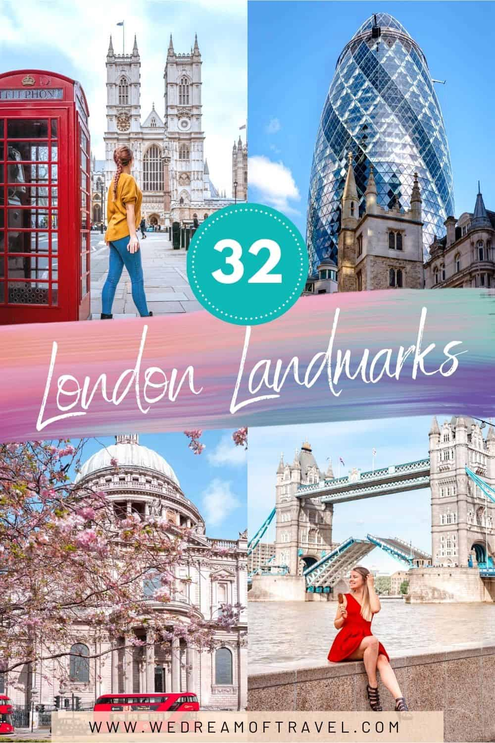 No visit to the capital city is complete without visiting some of the most famous landmarks in London. Discover 32 iconic sites in London you need to see! London Landmarks | Landmarks in London | Landmarks of London