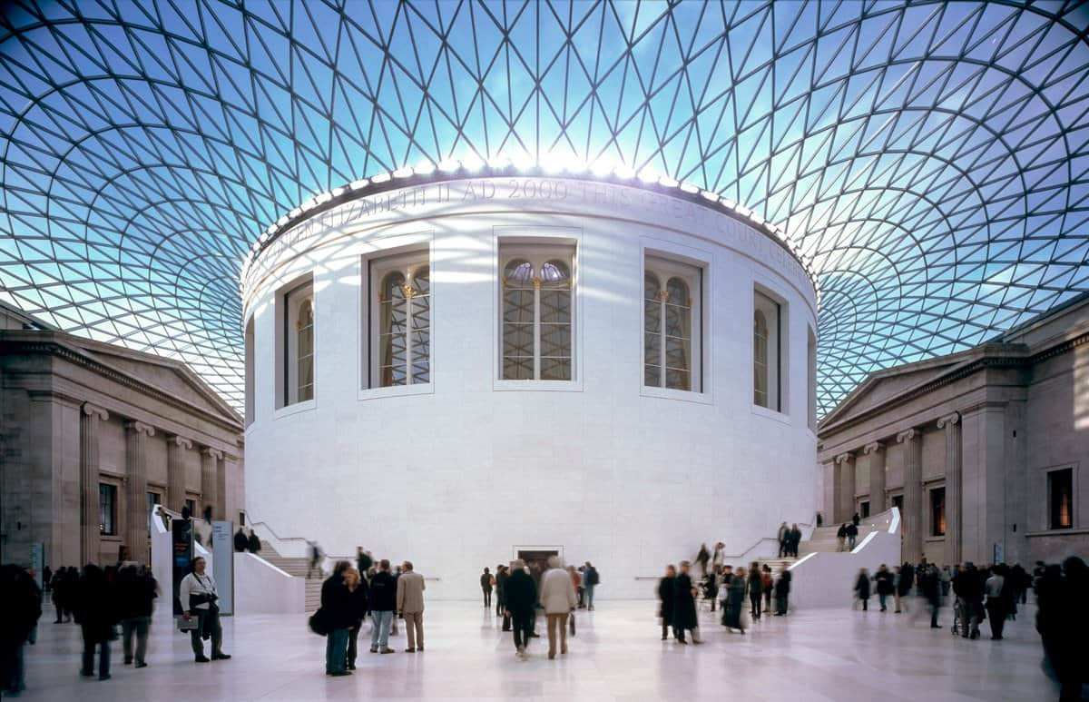 The Great Hall in the British Museum, one of the most impressive landmarks in London.