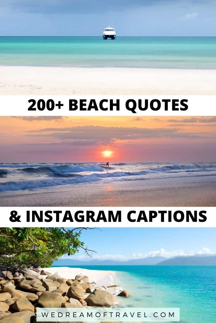 Looking for the perfect beach caption for your Instagram photos by the beach?  We've got you covered with the top 200 quotes about beaches!  From short and cute beachy quotes to clever beach puns and inspirational beach quotes.  #beach #beachdays #beachquotes #quotesaboutbeaches #travelquotes #instagramcaptions  #mountainquotes #quotesaboutmountains #mountains #travelinspiration #travelquotes #instagramcaptions