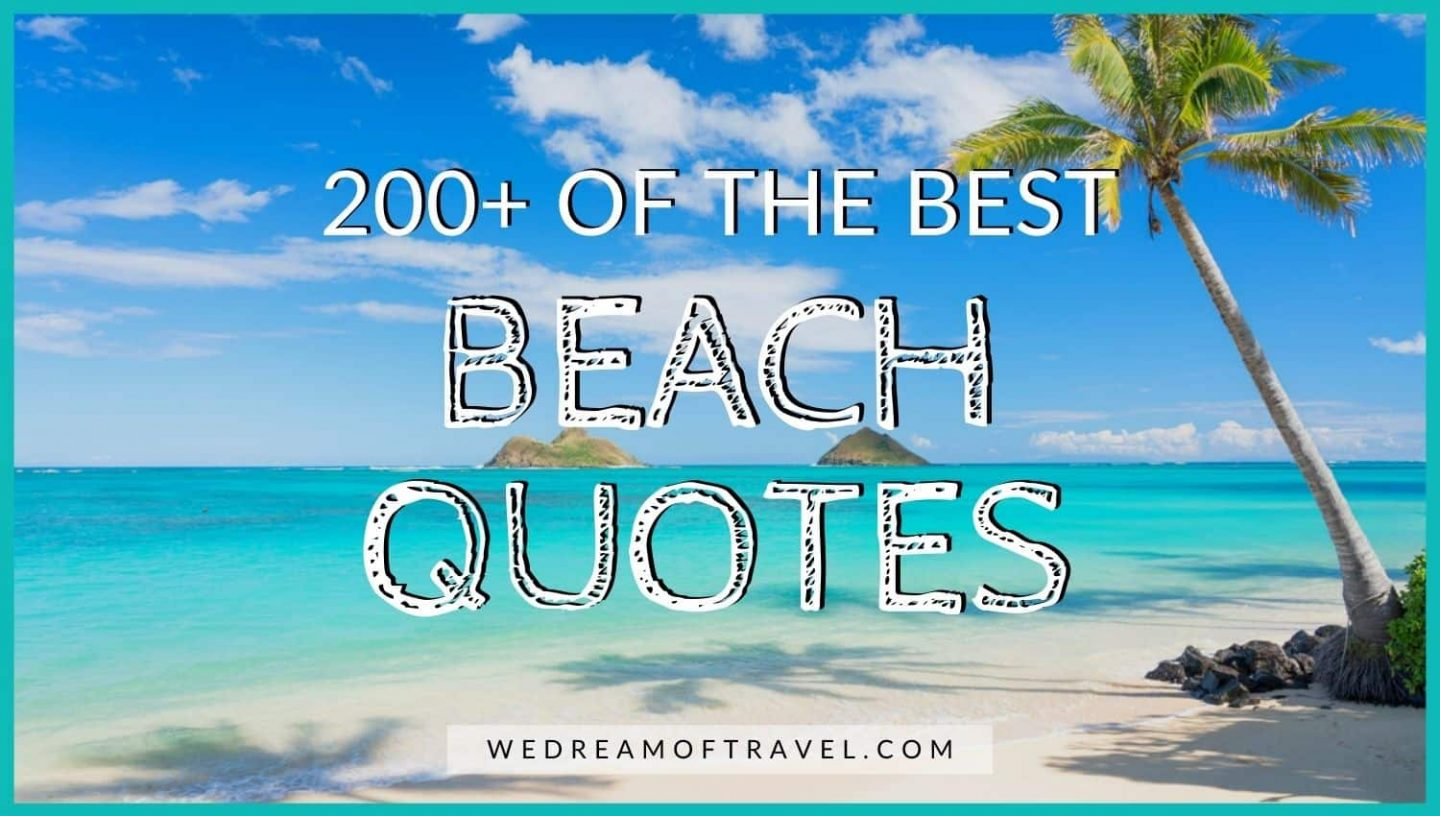 200+ Best Beach Quotes - Text overlaying an image of a tropical beach in Oahu, Hawaii