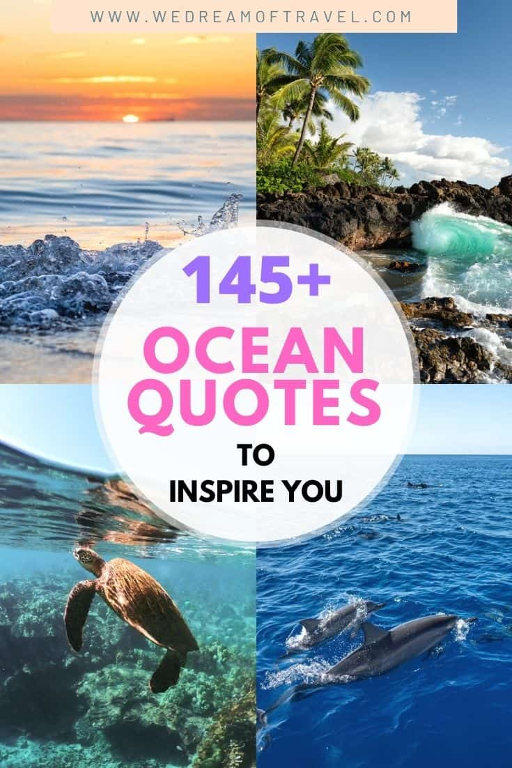 Discover 145+ of the BEST ocean quotes to inspire you to get out to the beach. Or maybe you're looking to reminisce about previous summer days in the water. Either way we've got you covered with these sea quotes for every occasion! ocean quotes | ocean quotes inspirational | ocean quotes summer | ocean quotes instagram | ocean quotes short | ocean quotes funny | ocean captions instagram | funny ocean captions | sea quotes