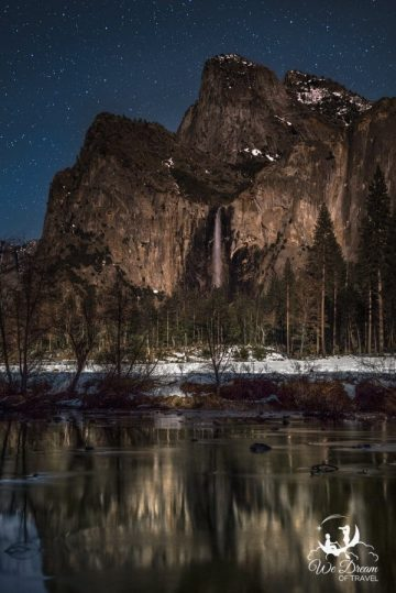 Nighttime Yosemite photography featuring Bridalveil Falls under the stars.