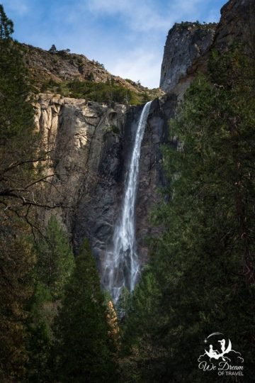 Bridalveil Fall is the first waterfall you will see on your Yosemite day trip.