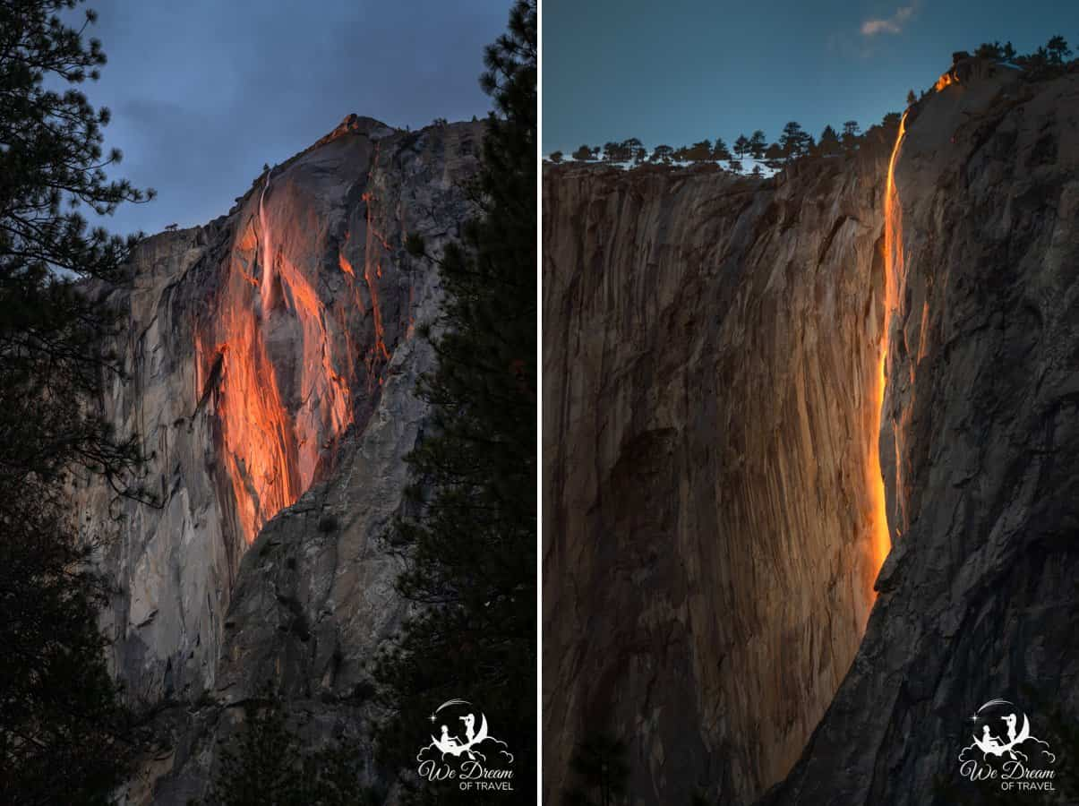 Two views of Yosemite Firefall side by side.