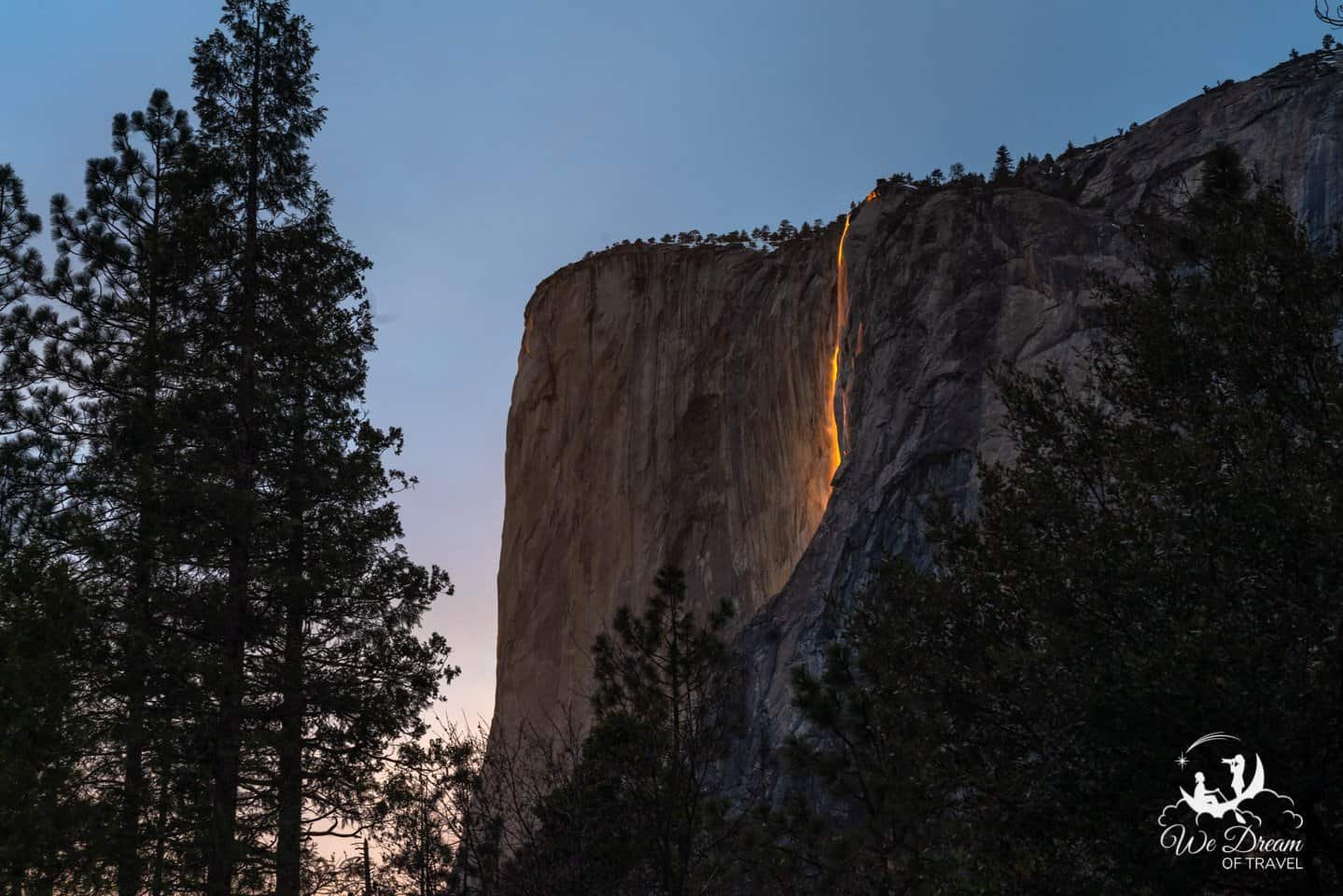 A view of Yosemite Firefall from near the Merced River.