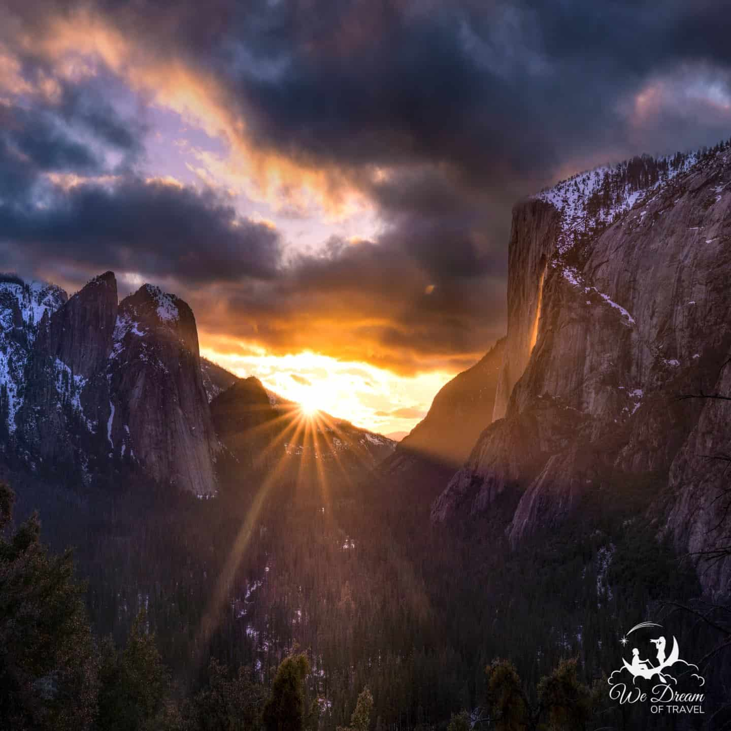 Watching the Yosemite Firefall at sunset from Four Mile Trail.