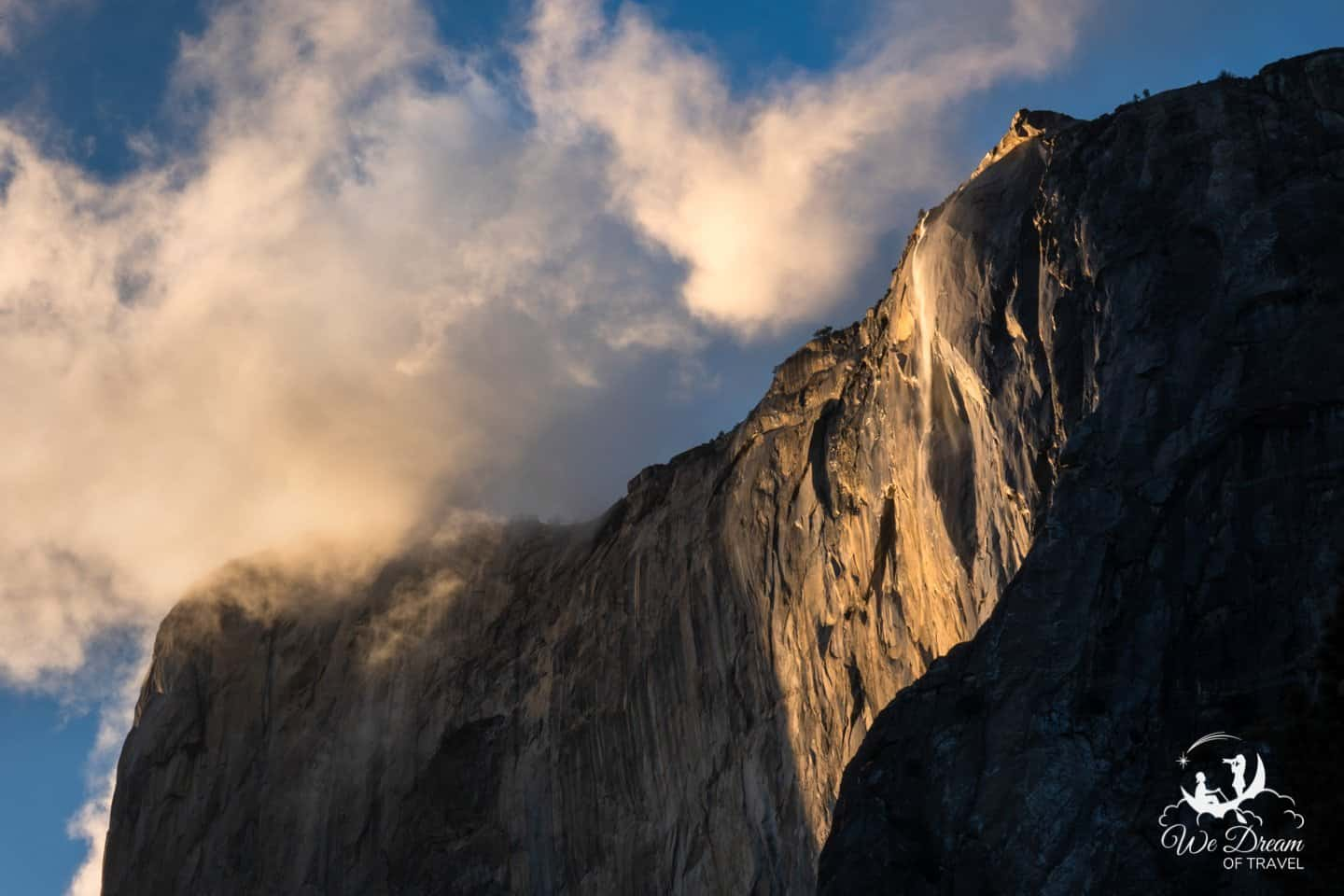 Golden Hour tones light up El Capitan and Horsetail Falls.