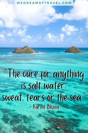 Looking for the perfect ocean caption for your Instagram photos on the water? We've got you covered with the top 145 quotes about the sea! From short and cute ocean quotes to clever ocean puns and inspirational sea quotes. #ocean #sea #seaquotes #oceanquotes #quotesaboutthesea #oceaninstagramcaptions #travelquotes #instagramcaptions