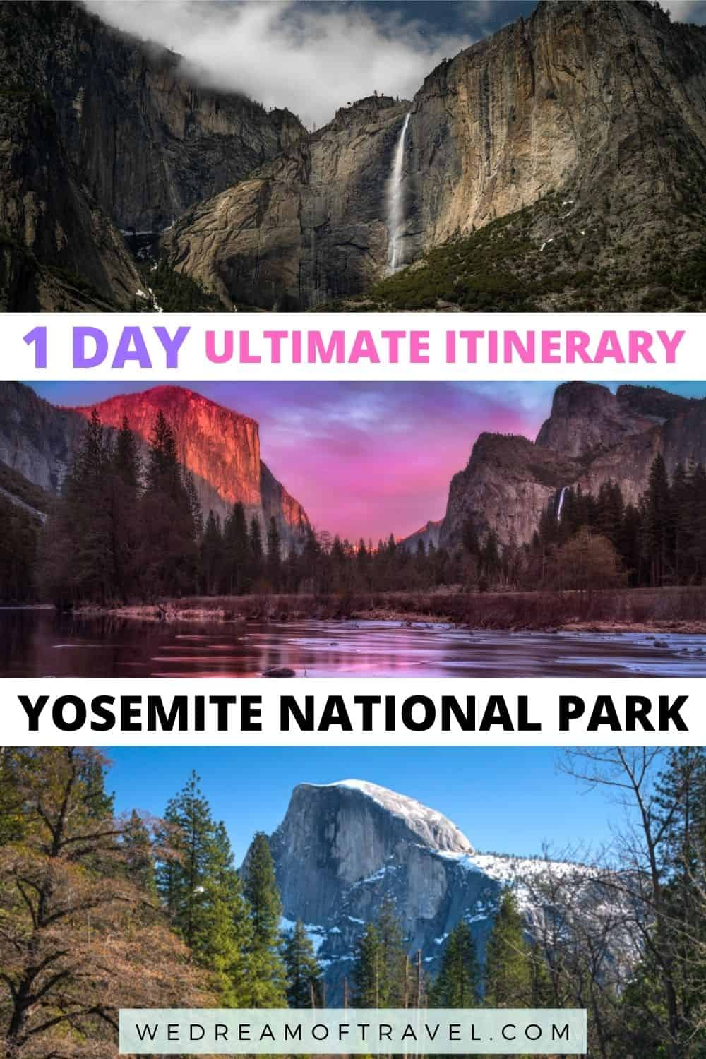 Planning a day trip to Yosemite National Park?  Discover the perfect Yosemite one day itinerary to maximise your time in California's most beautiful national park.  Yosemite National Park   Yosemity National Park in 1 day   1 day in Yosemite   things to do in Yosemite National Park   Yosemite Day Trip   Half Dome   Yosemite viewpoints   Visit California