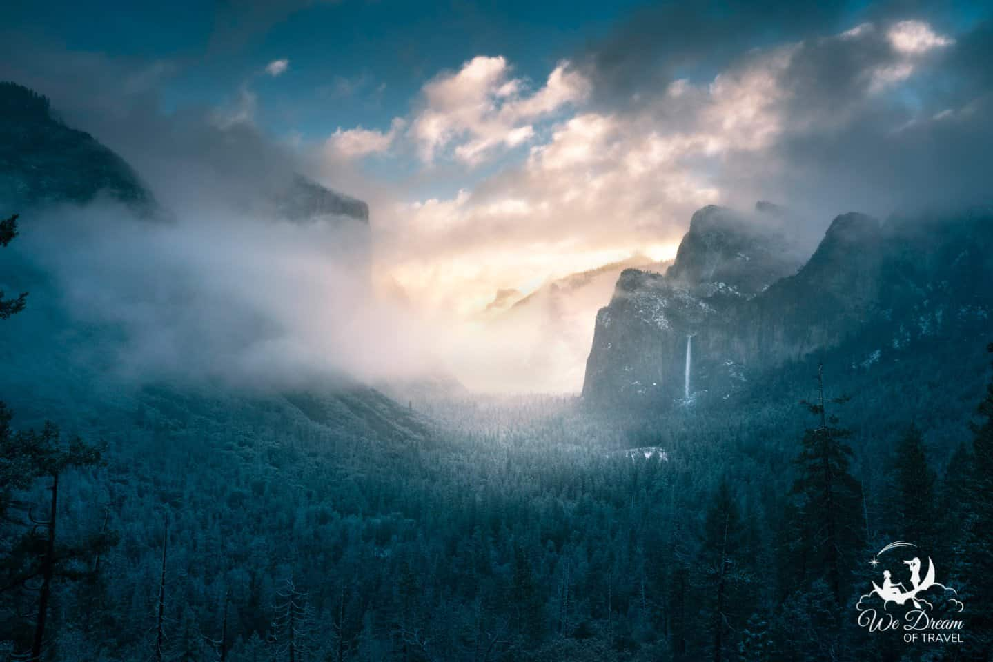 Begin your day in Yosemite by taking in sunrise from Tunnel View.