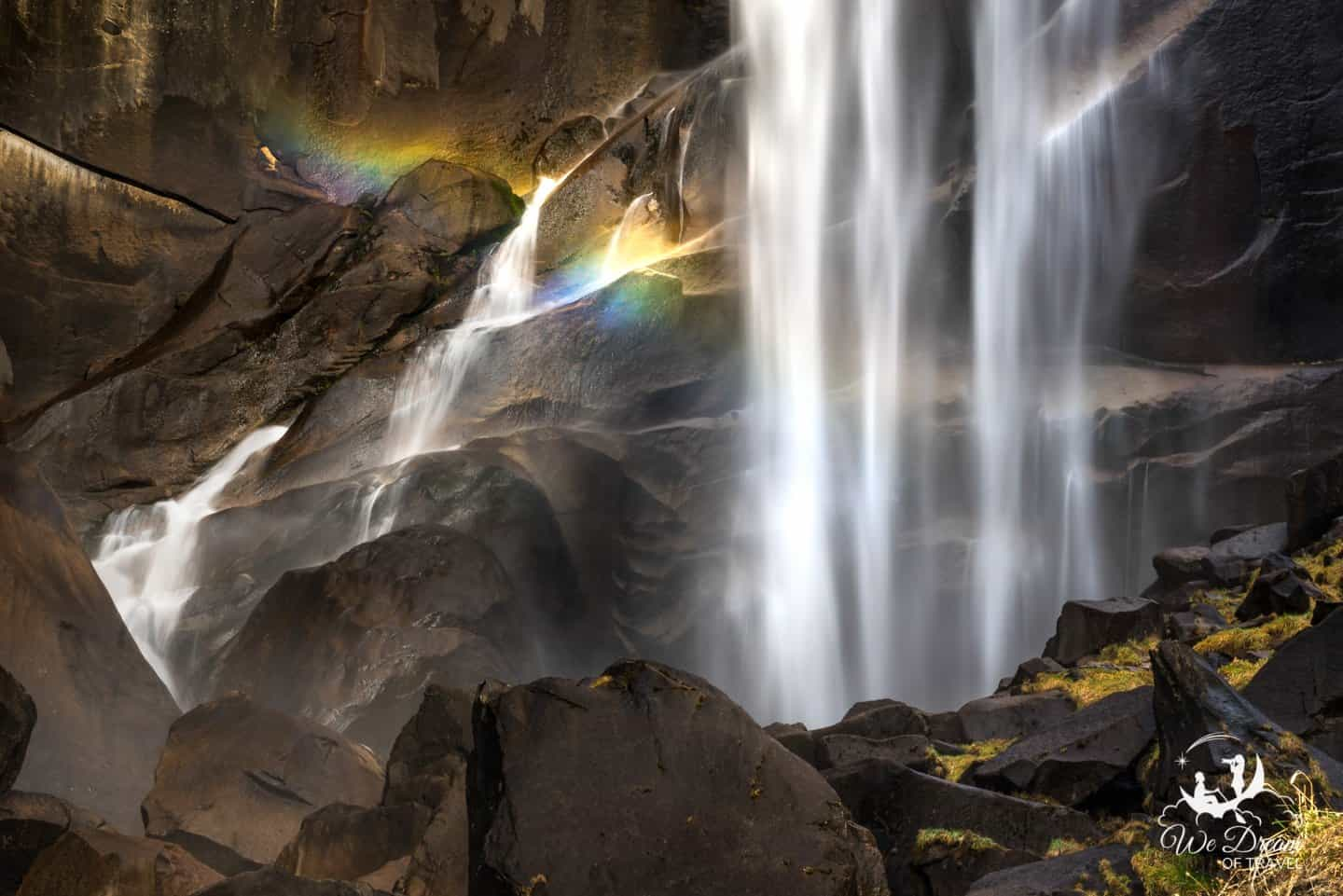 A rainbow accents Vernal Falls in this spring photo from Yosemite.