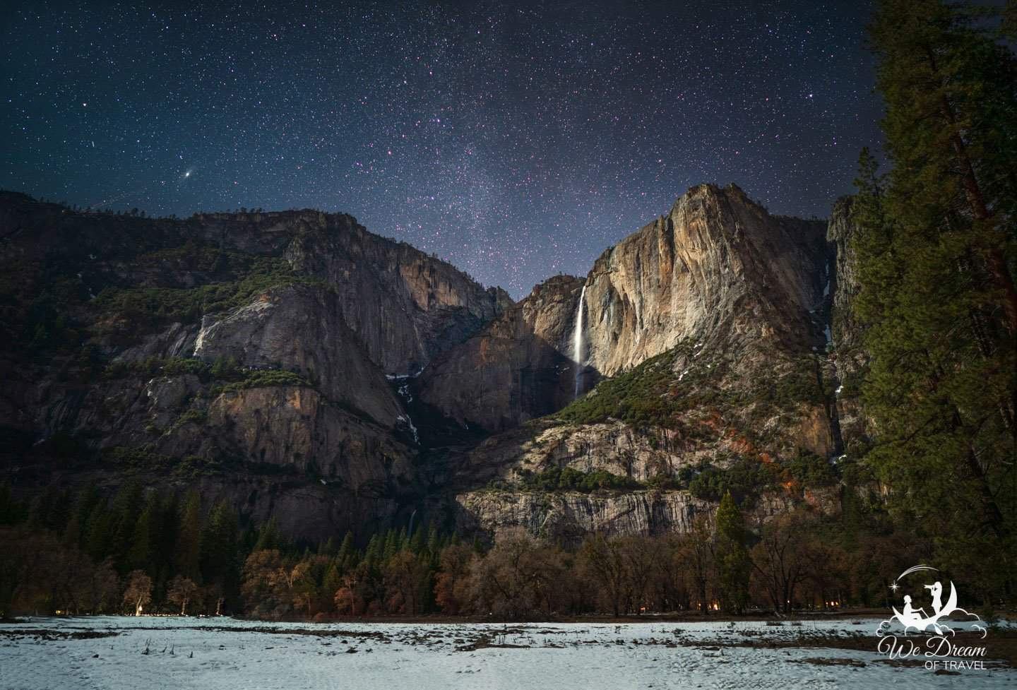 Yosemite astrophotography featuring Upper Yosemite Falls in moonlight under the stars.
