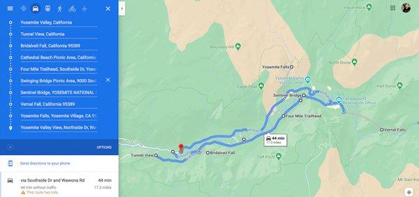 Day trip Yosemite itinerary map