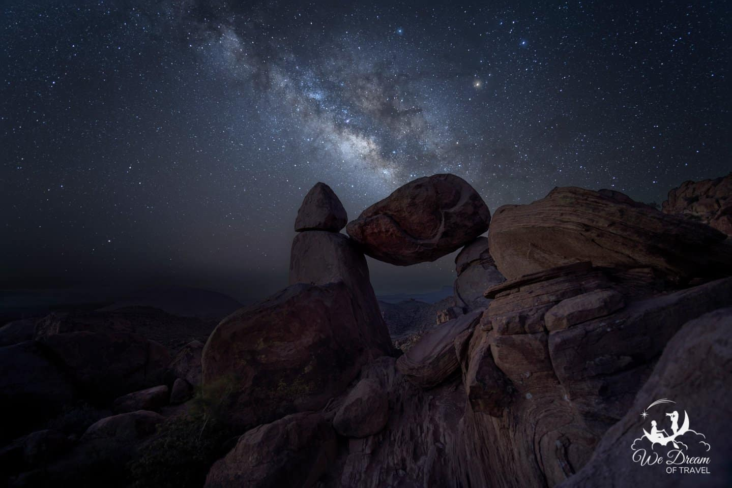Balanced Rock is the most iconic spot for Milky Way pictures in Big Bend.