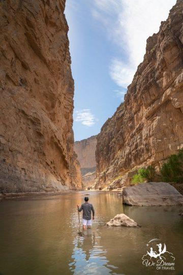 "Using a ""depth stick"" to navigate the Rio Grande in the Santa Elena Canyon."