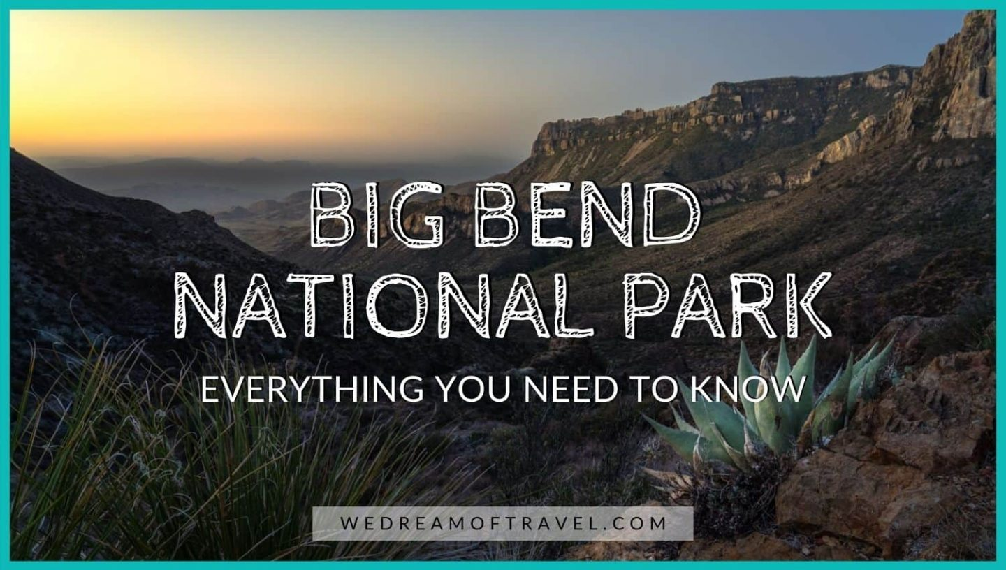 """Big Bend National Park: Everything You Need to Know"" blog cover image.  Text overlaying an image of cactus and mountains at sunset."