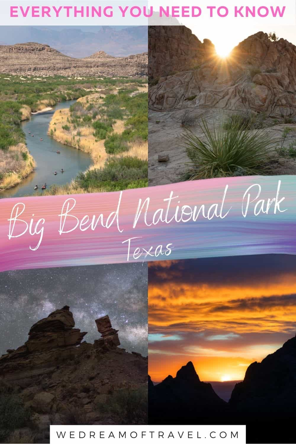 The Ultimate Big Bend National Park Guide!  Big Bend is a true gem in Texas.  This lesser visited national park is well worth a visit for any nature or adventure lovers.  From the Chisos Mountains to the dry desert and flowing Rio Grande, it is a truly diverse park.   Find everything you need to know about visiting Big Bend.  Big Bend National Park Texas |  Things to do in Big Bend | Big Bend National Park Camping | Big Bend National Park Lodging | Big Bend National Park Hiking | Big Bend National Park Photography