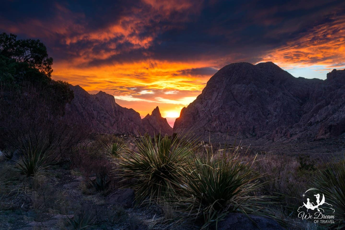 A crazy sunset picture looking at The Window in Big Bend National Park.