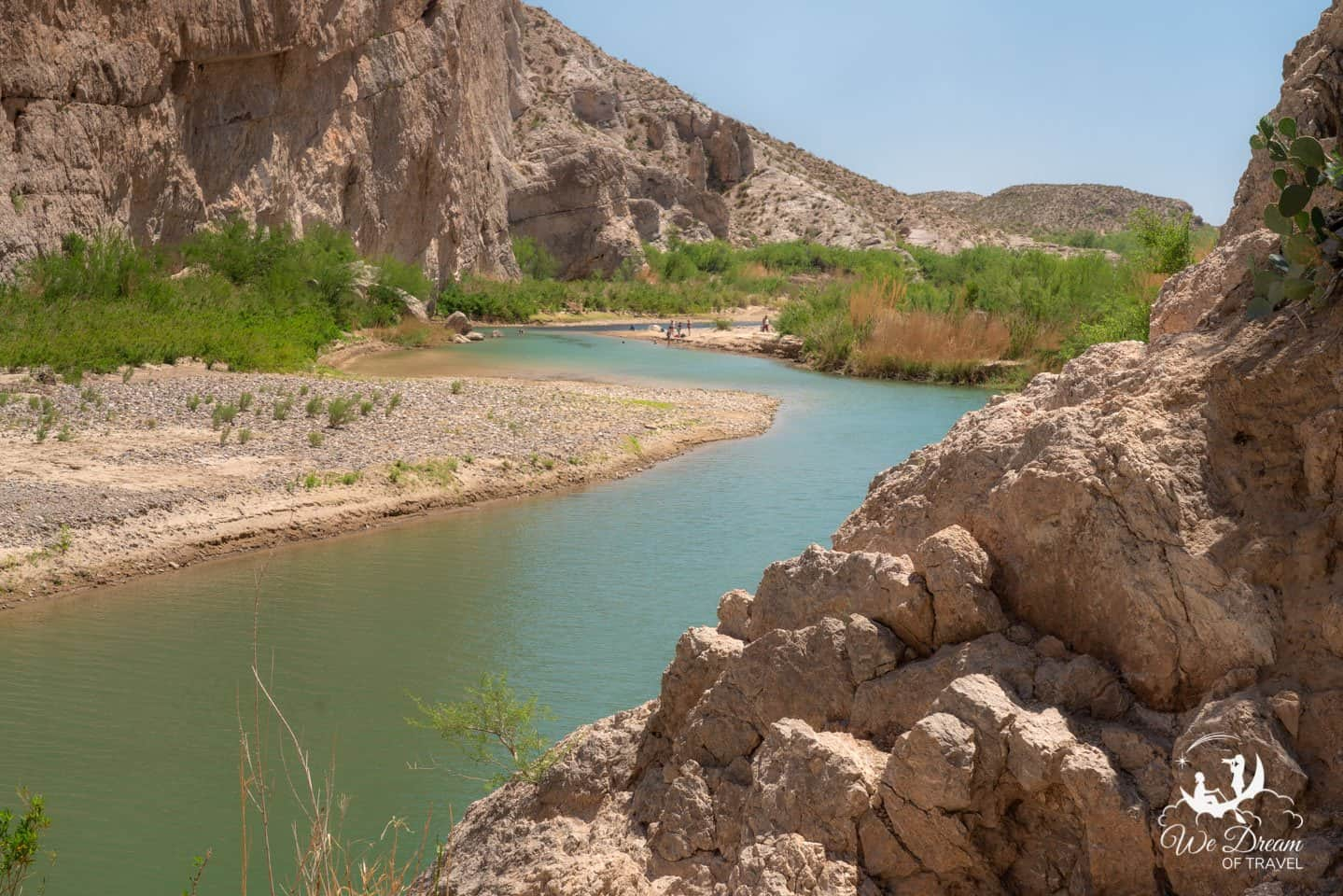 Enjoy a day on the beach in the aqua waters of the Rio Grande from the Boquillas Canyon Trail.