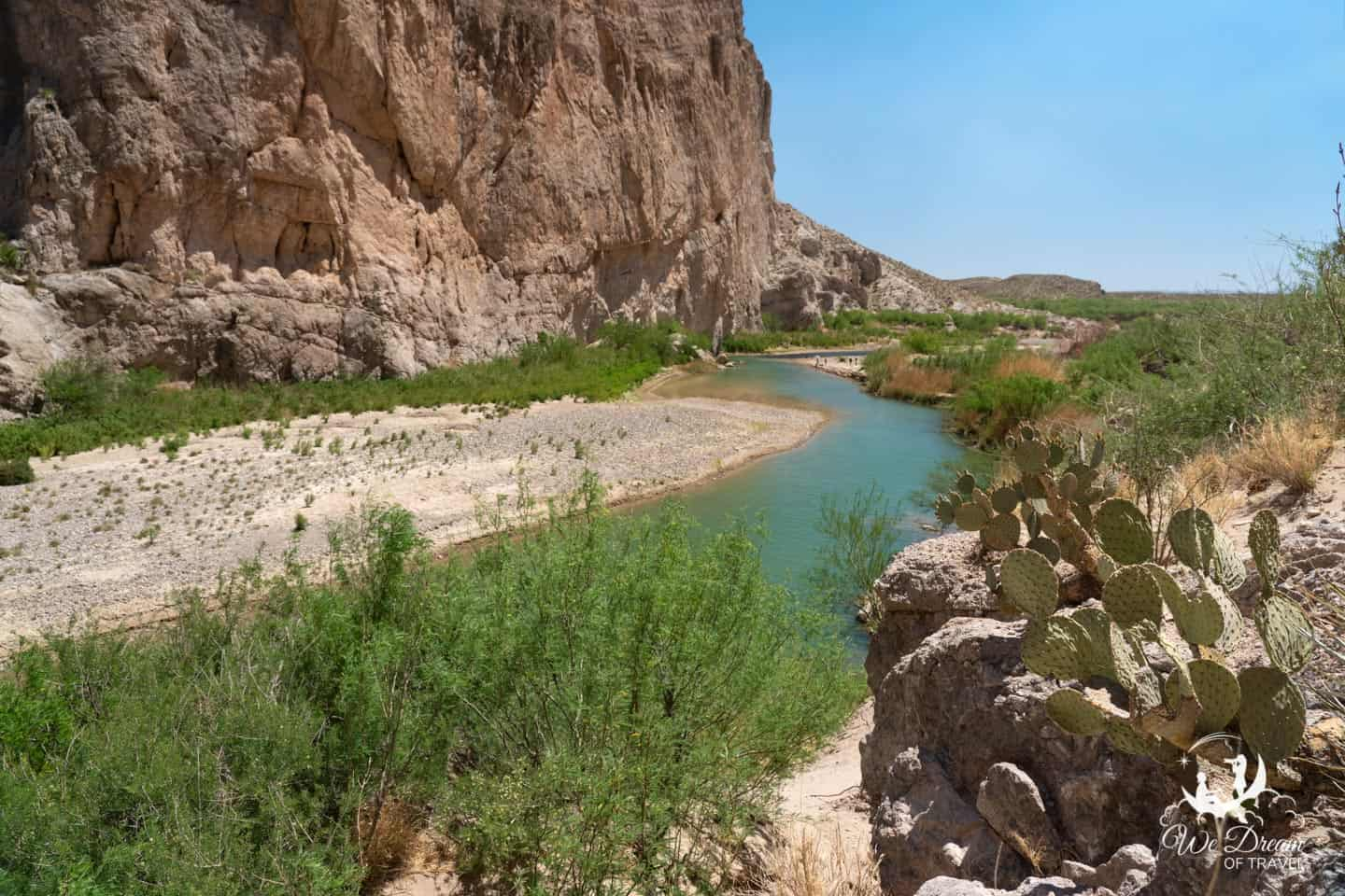 Big Bend national park picture capturing the green water and limestone cliffs from the Boquillas Canyon.