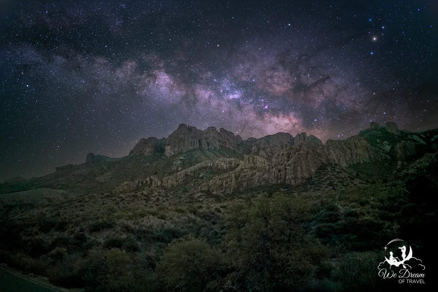 Milky Way night photography above the Chisos Mountains in Big Bend National Park