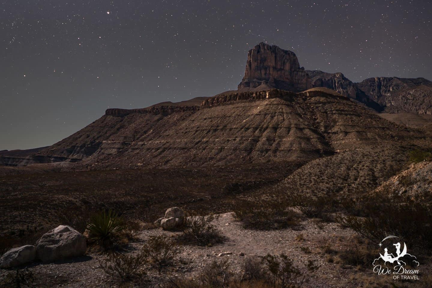 Doing some night photography on a moonlit night at Guadalupe Mountains National Park.