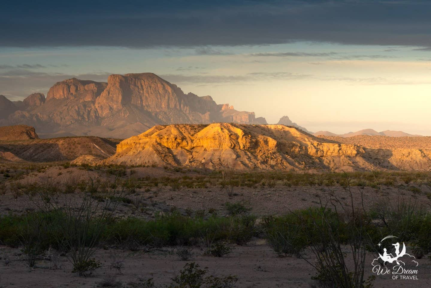 First light spills onto the scene at Exhibit Ridge in this landscape photograph of Big Bend.