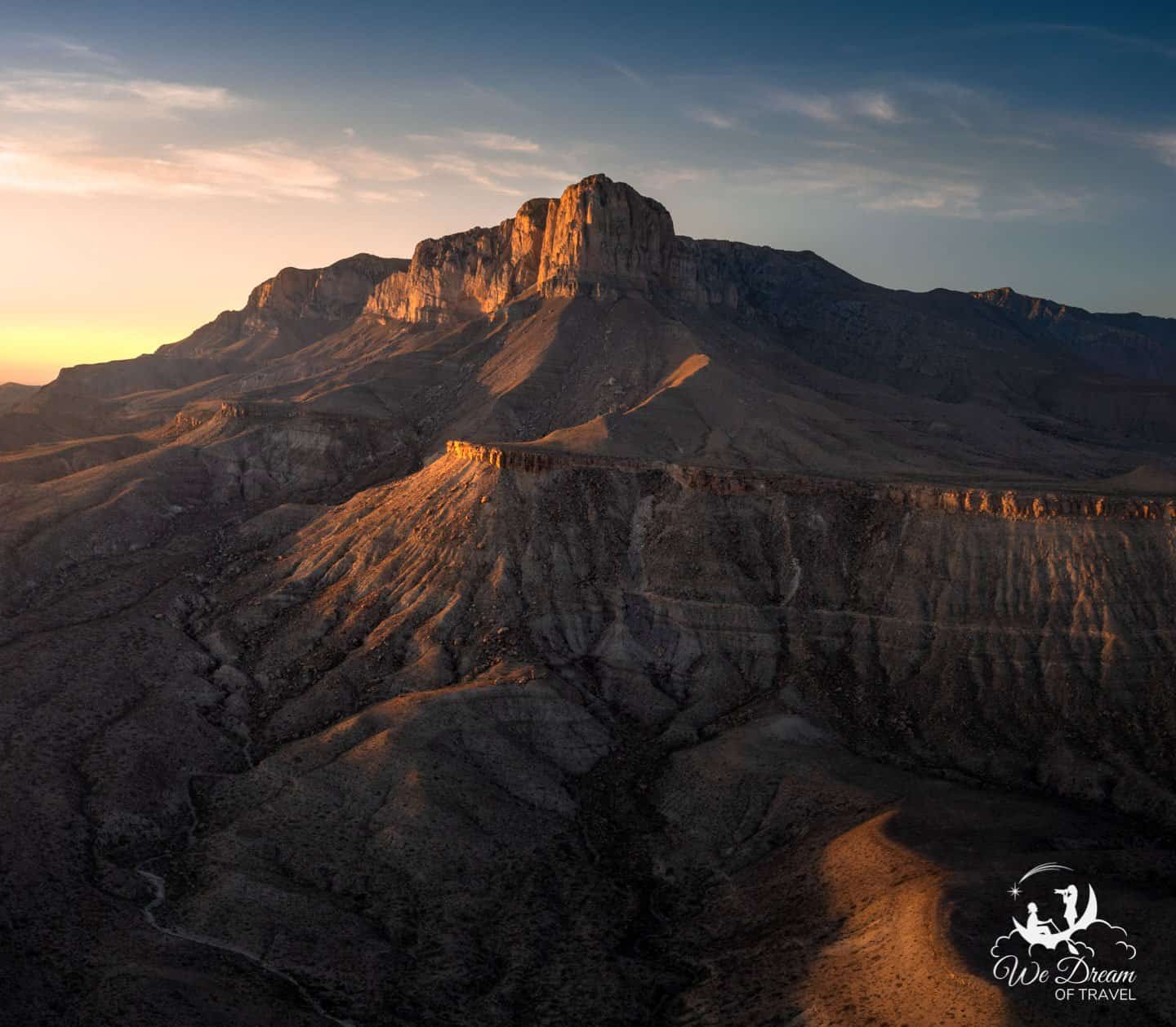 Aerial photography showcasing sunset on the Guadalupe Mountains (taken from outside the national park.)