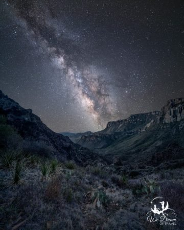 The Milky Way hovers above the Chisos Mountains from Lost Mine Trail.