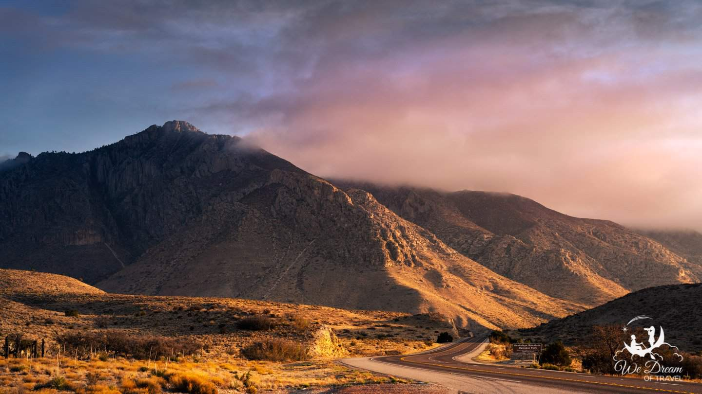 Sunrise at the entrance to Guadalupe Mountains National Park.