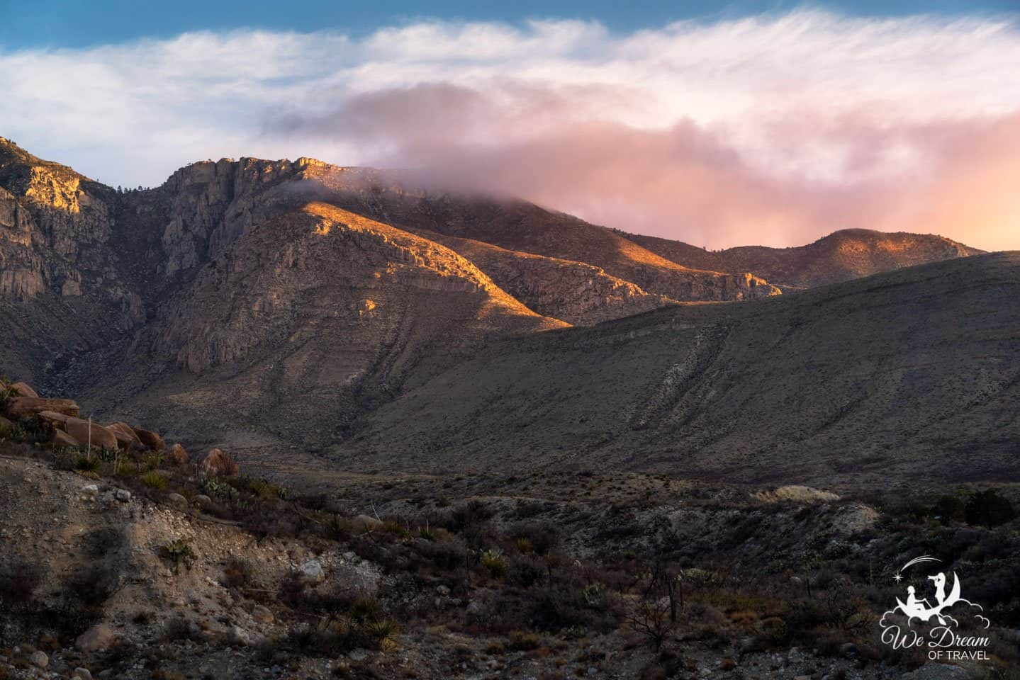 Sunrise colors gracing the landscape in Guadalupe Mountains National Park.