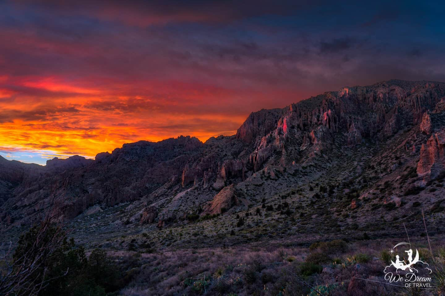 The sky catches fire in this picture of the Chisos Mountains in Big Bend.