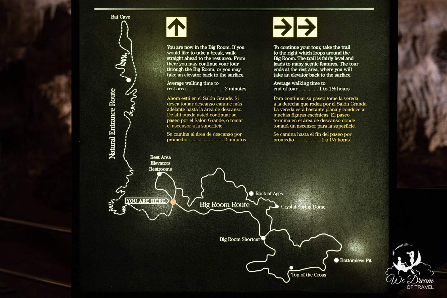 Carlsbad Caverns map showing the cave trails.