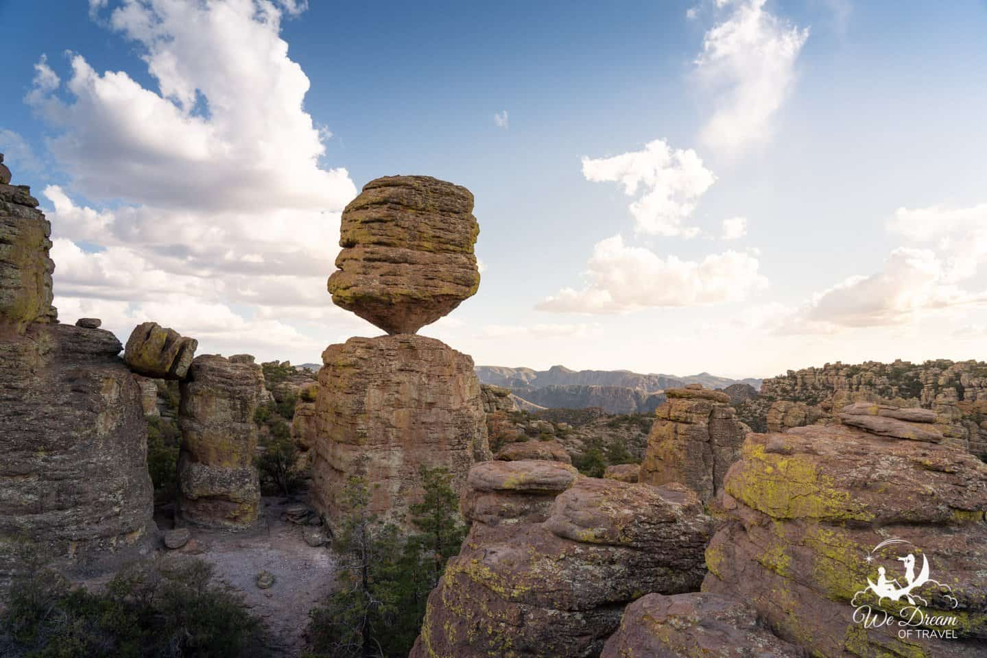 A balanced rock looks like it could topple over at any time in Chiricahua