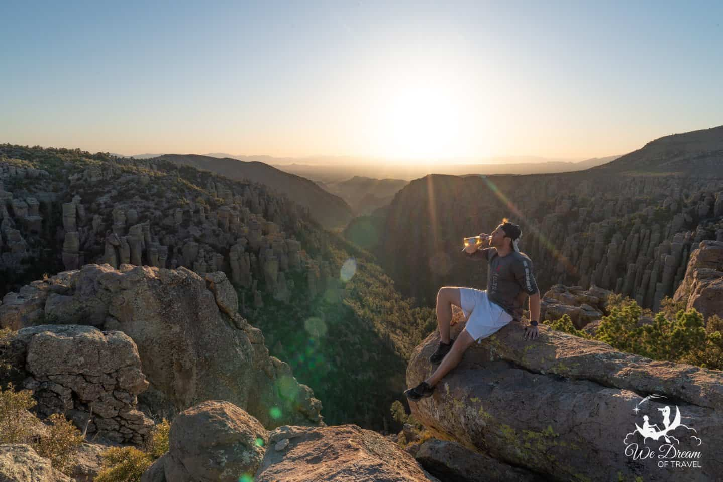 Enjoying a brew with a view for sunset at Inspiration Point in Chiricahua NM.