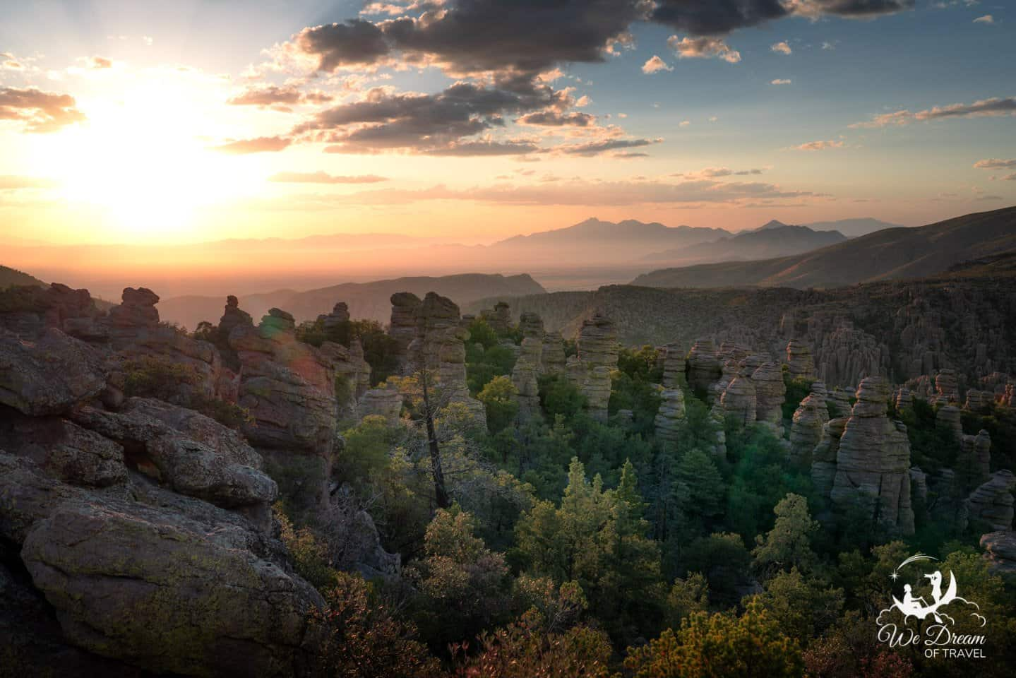 Sunset from the Heart of Rocks Loop in Chiricahua NM.