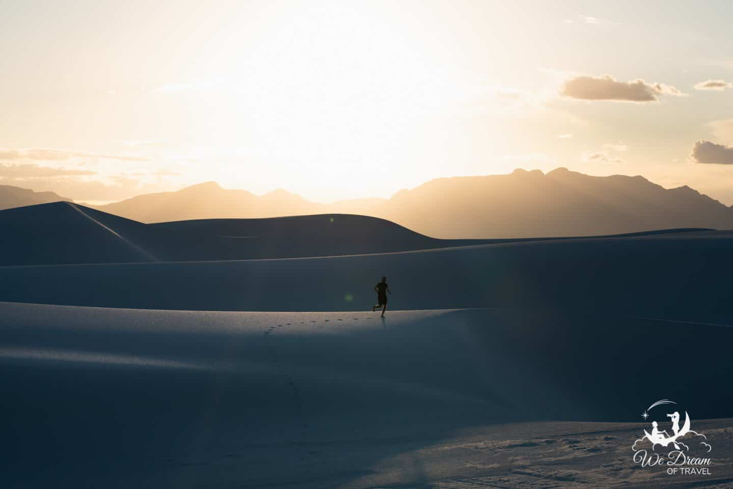 I used a tripod and intervalometer so that I could include myself as a necessary human element in this White Sands golden hour picture.