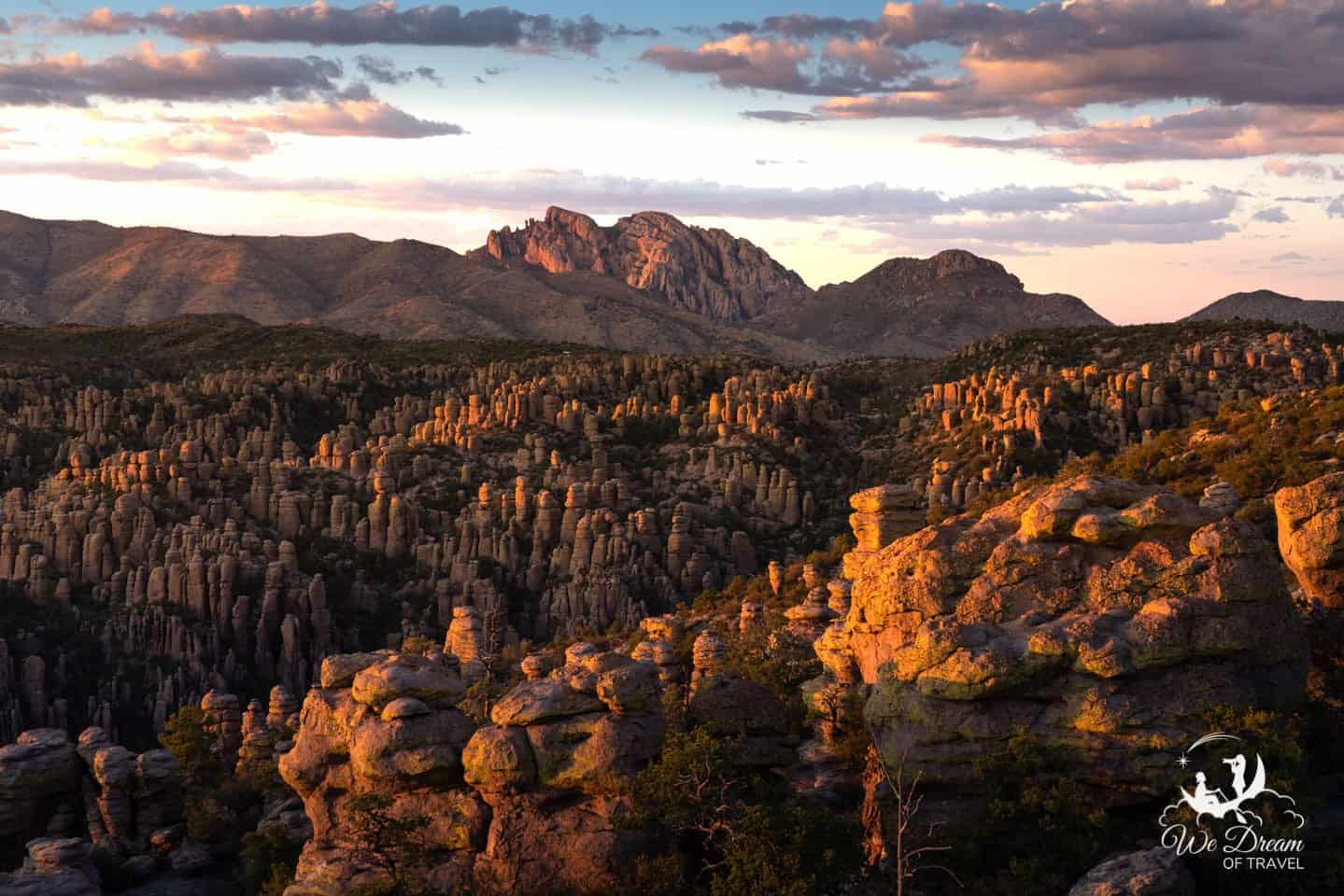 The late glow of sunset kisses the rocks of Chiricahua National Monument.