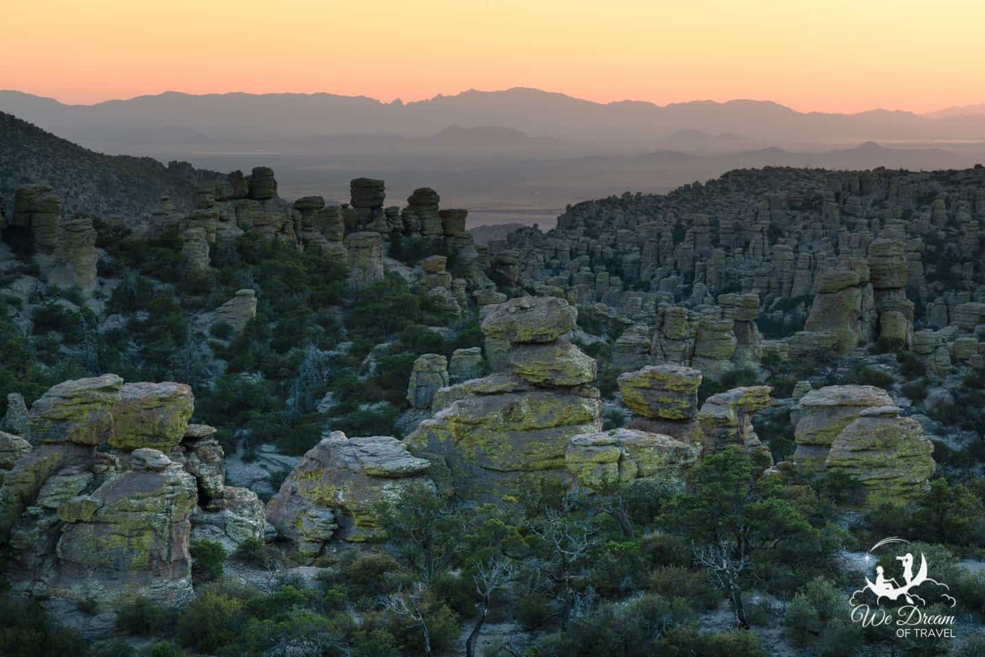 Massai Point is the most accessible viewpoint to enjoy sunset in Chiricahua National Monument.