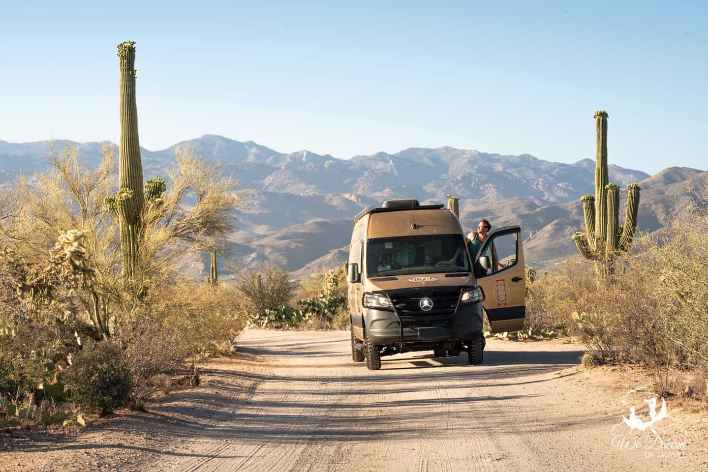 The cactus-lined dirt road to Mica View is a top sight in Saguaro National Park.