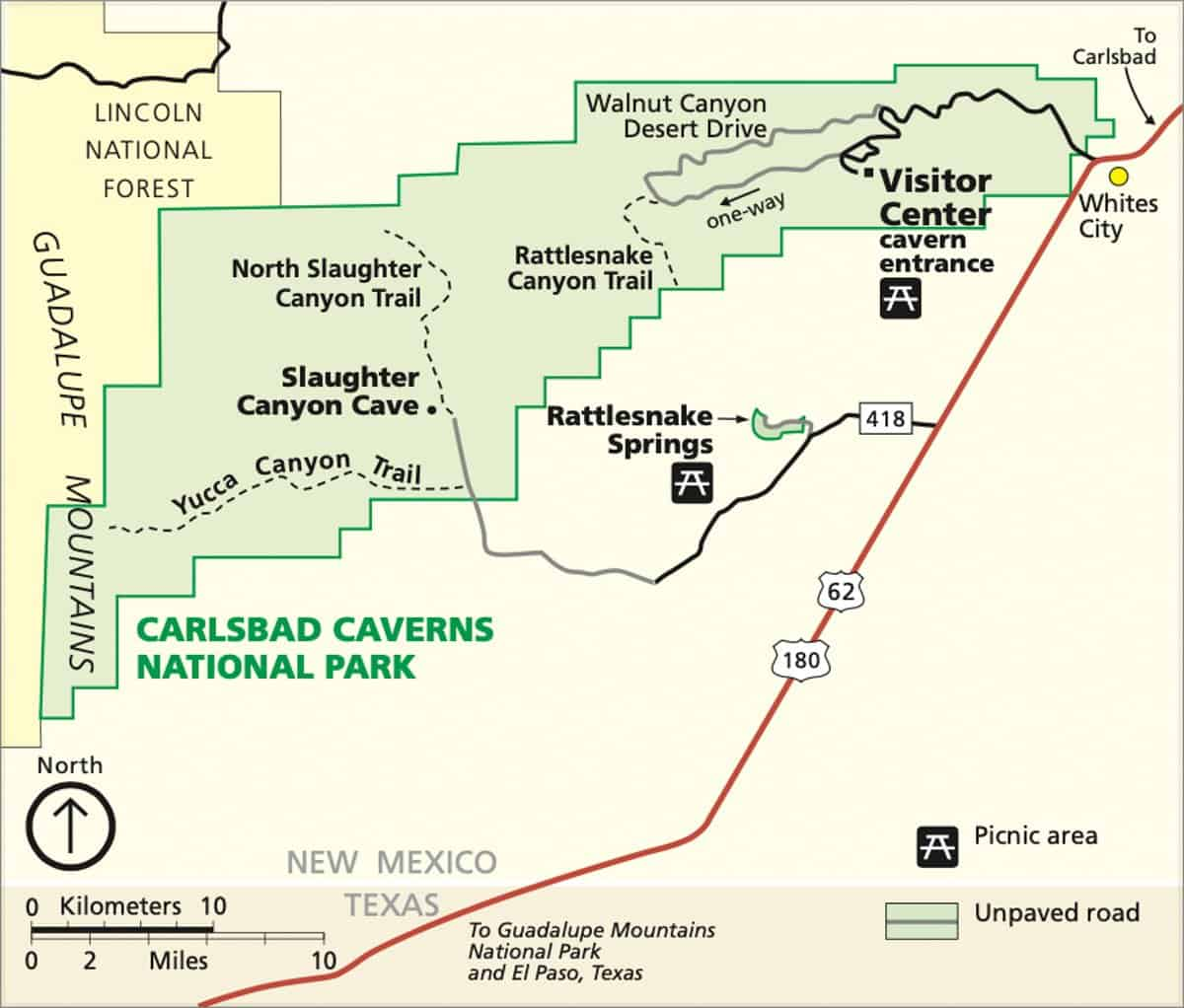 Official NPS map of Carlsbad Caverns National Park