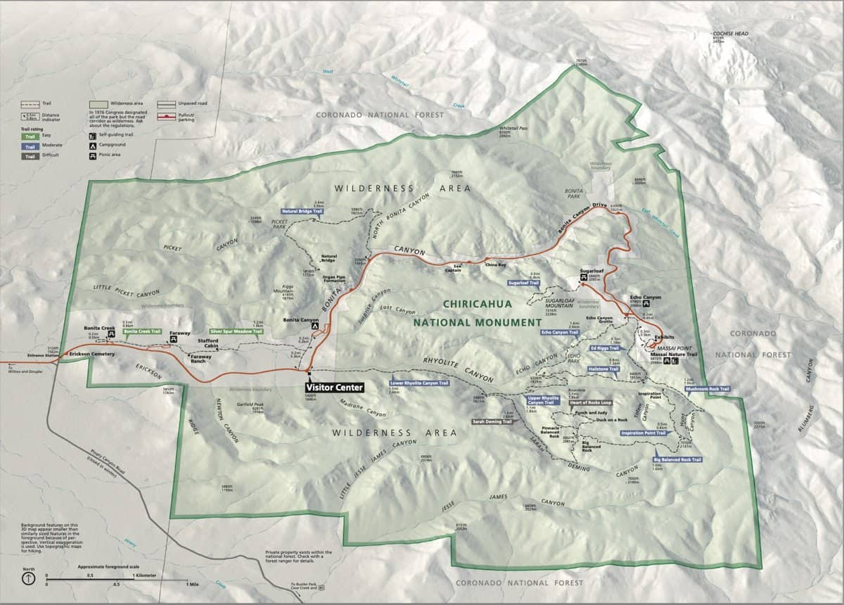 Official NPS Chiricahua National Monument Map