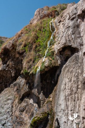 The spring-fed Sitting Bull Falls waterfall is visible year-round.