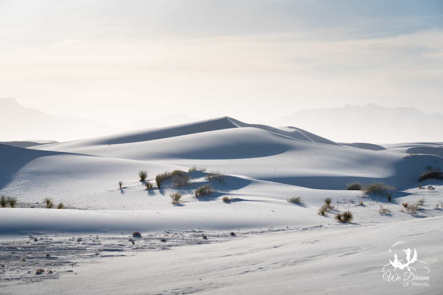 Afternoon light creates contrasting textures on the gypsum sand dunes at White Sands.
