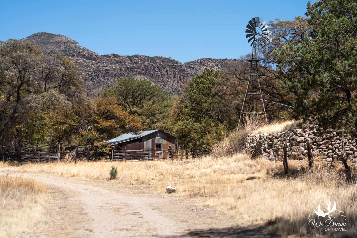 One of the nicer views along the Bonita Creek Trail near the entrance to Chiricahua National Monument.
