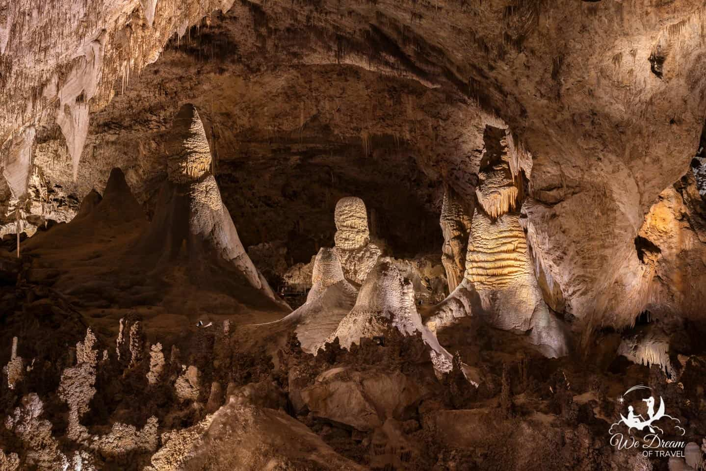 Stalagmites have a more rounded appearance and grow up from the ground in Carlsbad Caverns.