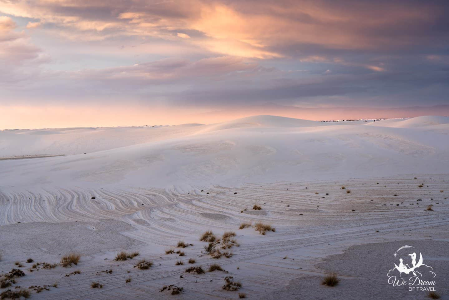 A simpler sunset photo from White Sands capturing the soft light and warm tones.