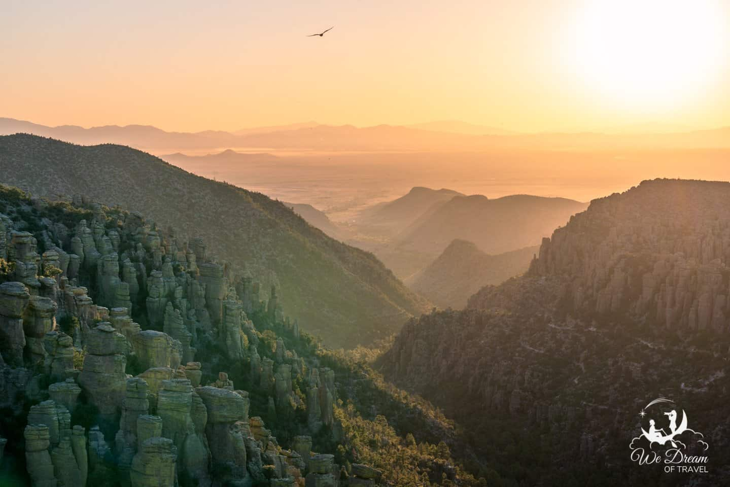 An eagle soars above the valley at sunset from Inspiration Point in Chiricahua National Monument.